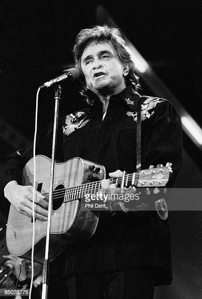 WEMBLEY Photo of Johnny CASH Johnny Cash performing on stage at the Country Music Festival
