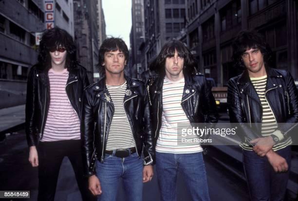 Photo of Johnny RAMONE and RAMONES and Joey RAMONE and Dee Dee RAMONE LR Joey Ramone Dee Dee Ramone Johnny Ramone Marky Ramone