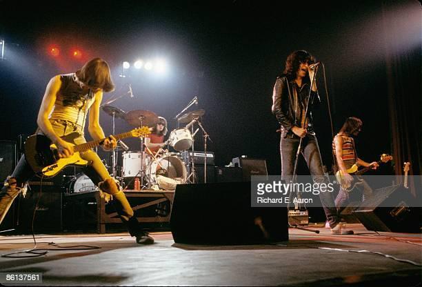 Photo of Johnny RAMONE and RAMONES and Joey RAMONE and Dee Dee RAMONE; L-R: Johnny Ramone, Tommy Ramone, Joey Ramone, Dee Dee Ramone