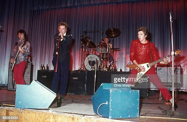 Photo of Johnny ROTTEN and SEX PISTOLS and Glen MATLOCK and Steve JONES LR Glen Matlock Johnny Rotten Paul Cook Steve Jones performing live onstage...