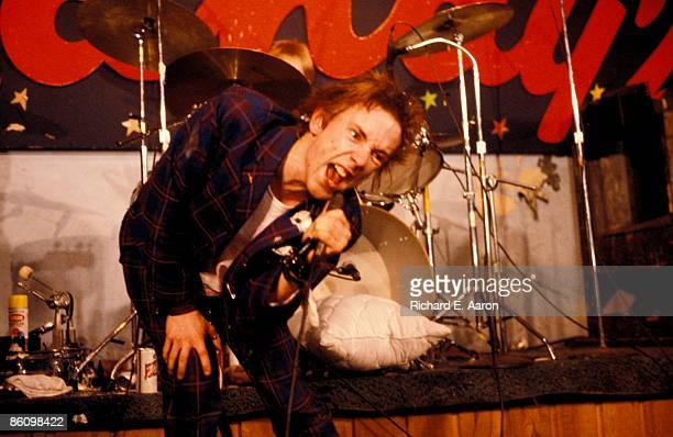 TEXAS Photo of Johnny ROTTEN and SEX PISTOLS Johnny Rotten performing live onstage at Randy's Rodeo Nightclub San Antonio on final tour