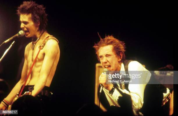 Photo of Johnny ROTTEN and Sid VICIOUS and SEX PISTOLS Sid Vicious Johnny Rotten performing live onstage at The Great South East Music Hall Emporium...