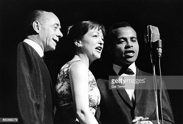 Photo of Jon HENDRICKS and Annie ROSS and Dave LAMBERT and LAMBERT HENDRICKS ROSS LR Dave Lambert Annie Ross and Jon Hendricks performing on stage