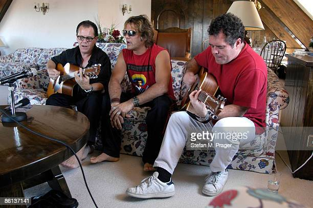 Photo of Jon STEVENS and INXS and Kirk PENGILLY and Andrew FARRISS LR Kirk Pengilly Jon Stevens Andrew Farriss