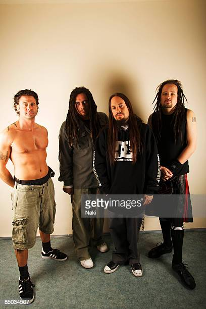 Photo of Jonathan DAVIS and MUNKY and FIELDY and KORN LR David Silveria Munky Fieldy Jonathan Davis photographed in Moscow