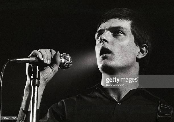 Photo of Joy Division, Ian Curtis performing live onstage at the Lantaren