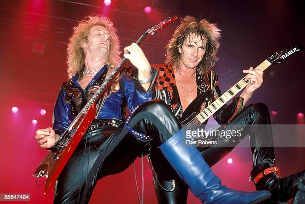 Photo of JUDAS PRIEST and Glenn TIPTON and KK DOWNING KK Downing Glenn Tipton performing live onstage playing Hamer guitars