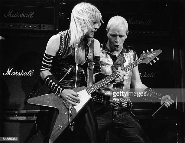 ODEON Photo of JUDAS PRIEST and Rob HALFORD and KK DOWNING KK Downing and Rob Halford performing live onstage with Marshall stack amplifier behind