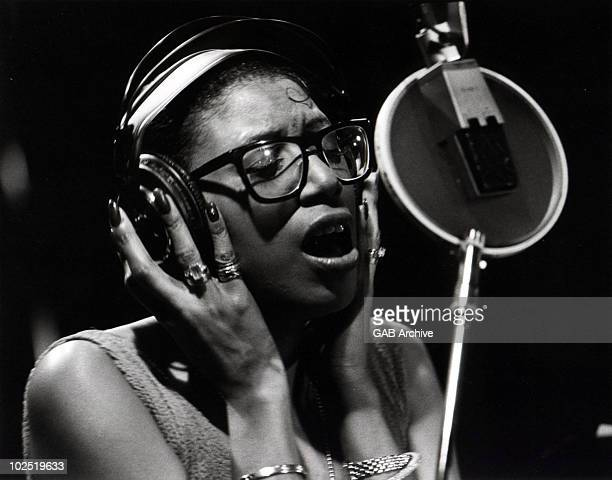 Photo of June Pointer from The Pointer Sisters in a recording studio