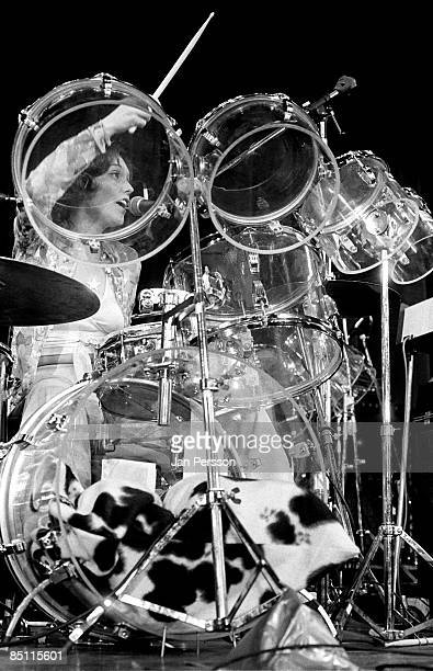 Photo of Karen CARPENTER and CARPENTERS Karen Carpenter performing live onstage with The Carpenters playing seethough transparent perspex Vistalite...