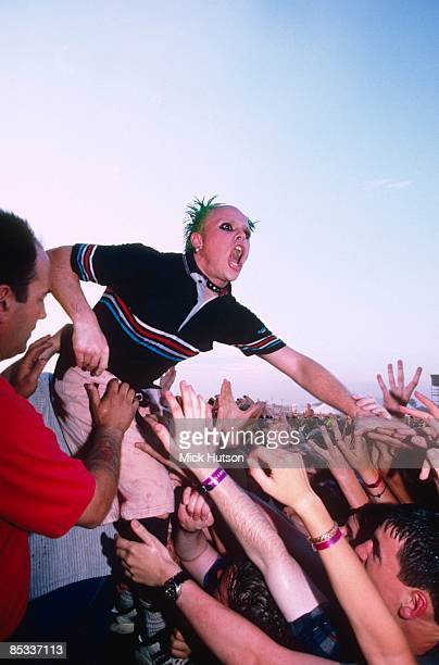 FESTIVAL Photo of Keith FLINT and PRODIGY Keith Flint performing on stage audience hands