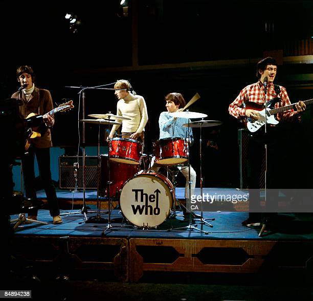 Photo of Keith MOON and Pete TOWNSHEND and The Who and Roger DALTREY and John ENTWISTLE Group performing on tv show at Wembley Studios LR Pete...