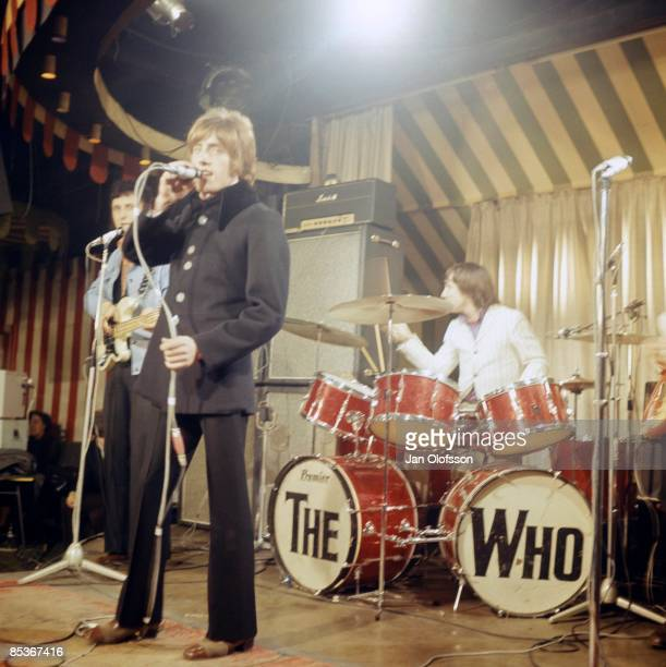 MARQUEE Photo of Keith MOON and Roger DALTREY and The Who LR John Entwistle Roger Daltrey and Keith Moon performing live onstage on 'Beat Club'...