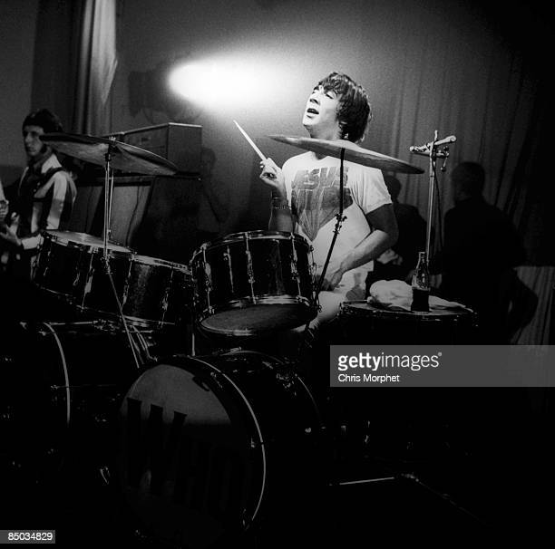 Photo of Keith MOON and The Who Keith Moon performing live onstage playing double bass drum Premier drum kit drums