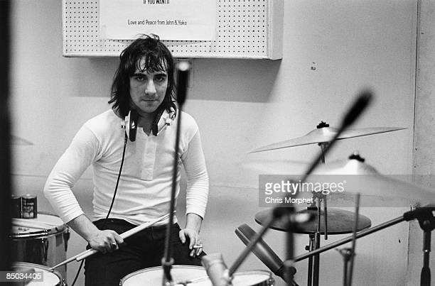 Photo of Keith MOON and The Who Keith Moon posed at IBC studios recording 'The Seeker'