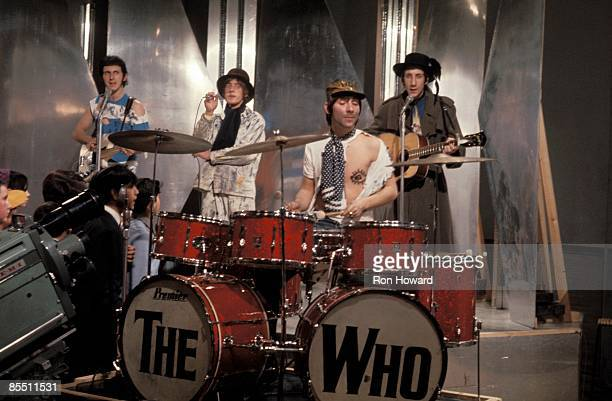 POPS Photo of Keith MOON and The Who LR John Entwistle Roger Daltrey Keith Moon Pete Townshend performing 'Happy Jack'