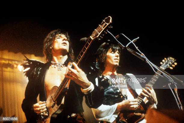 Photo of Keith RICHARDS and Ron WOOD and Ronnie WOOD LR Ron Wood Keith Richards performing live onstage in London with the Ron Wood Band in a gig to...