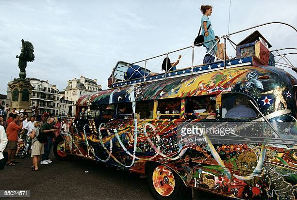 Photo of Ken KESEY Further pulls up at the peace statue Brighton as the crowds gather to meet Ken Kesey the Merry Pranksters