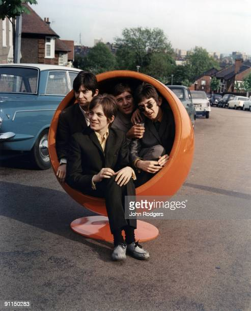 Photo of Kenney JONES and Steve MARRIOTT and SMALL FACES and Ronnie LANE and Ian McLAGAN; Back L-R: Ian McLagan, Kenney Jones, Ronnie Lane. Front:...