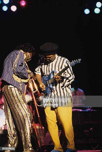 PIER Photo of Kenny GARRETT and Miles DAVIS Miles Davis and Foley performing live onstage