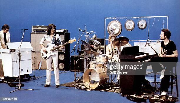 Photo of KING CRIMSON LR David Cross John Wetton Bill Bruford Robert Fripp performing on French TV show