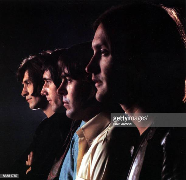 Photo of KINKS and Ray DAVIES and Dave DAVIES and Mick AVORY and John DALTON LR Ray Davies Mick Avory John Dalton Dave Davies posed group shot