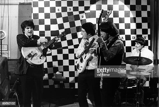 GO Photo of KINKS and Ray DAVIES and Pete QUAIFE and Dave DAVIES and Mick AVORY Group performing on tv show LR Ray Davies Pete Quaife Dave Davies and...