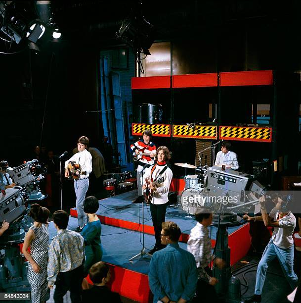 GO Photo of KINKS Group performing on tv show at Wembley Studios LR Ray Davies Pete Quaife Dave Davies and Mick Avory