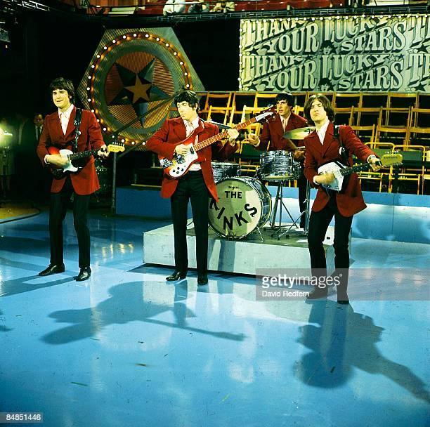 Photo of KINKS L to R Ray Davies Pete Quaife Mick Avory Dave Davies