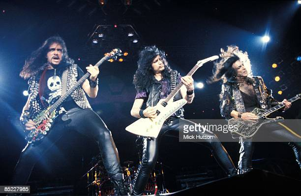 ARENA Photo of KISS and Bruce KULICK and Gene SIMMONS and Paul STANLEY LR Gene Simmons Bruce Kulick Paul Stanley performing live onstage without make...