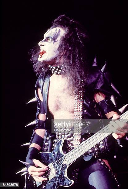 THEATER Photo of KISS and Gene SIMMONS Gene Simmons performing on stage fake blood