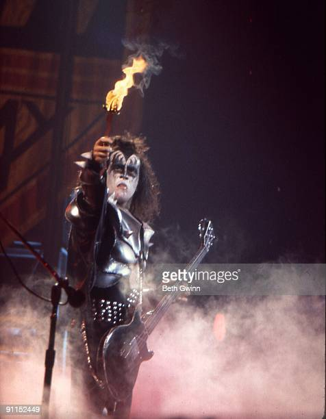 NASHVILLE Photo of KISS and Gene SIMMONS Gene Simmons performing on stage fire