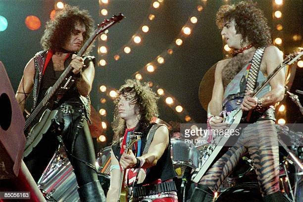 ARENA Photo of KISS and Vinnie VINCENT and Paul STANLEY and Gene SIMMONS LR Gene Simmons Vinnie Vincent Paul Stanley performing live onstage without...
