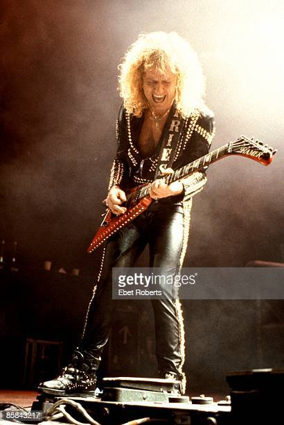 Photo of KK DOWNING and JUDAS PRIEST KK Downing performing live onstage playing Hamer guitar