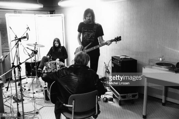 HILVERSUM Photo of Kurt COBAIN and NIRVANA and Krist NOVOSELIC and Dave GROHL LR Dave Grohl Kurt Cobain Krist Novoselic group shot recording in...