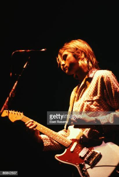 Photo of Kurt COBAIN and NIRVANA Kurt Cobain performing live onstage at Roseland Ballroom playing Fender Mustang guitar
