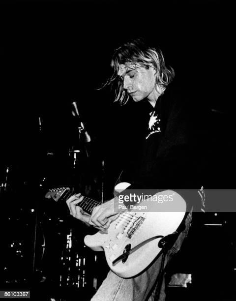 Photo of Kurt COBAIN and NIRVANA Kurt Cobain performing live onstage playing Fender Stratocaster guitar