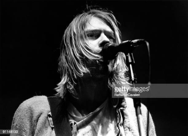 Photo of Kurt COBAIN and NIRVANA Kurt Cobain performing live onstage at Palasport Modena