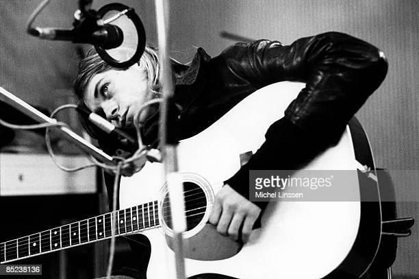 HILVERSUM Photo of Kurt COBAIN and NIRVANA Kurt Cobain recording in Hilversum Studios with acoutsic guitar