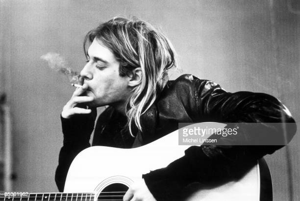 HILVERSUM Photo of Kurt COBAIN and NIRVANA Kurt Cobain recording in Hilversum Studios smoking cigarette