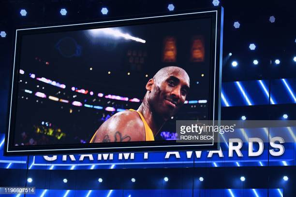 A photo of late NBA legend Kobe Bryant is seen during the 62nd Annual Grammy Awards on January 26 in Los Angeles