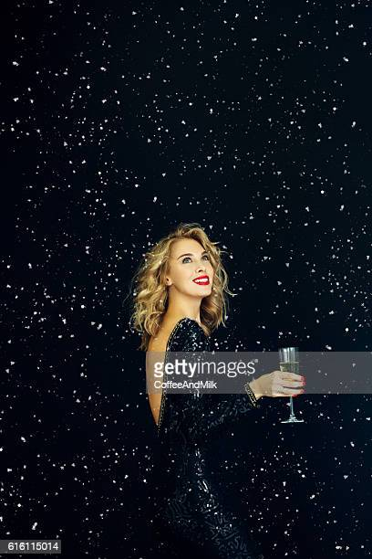 Photo of laughing girl strewn snow