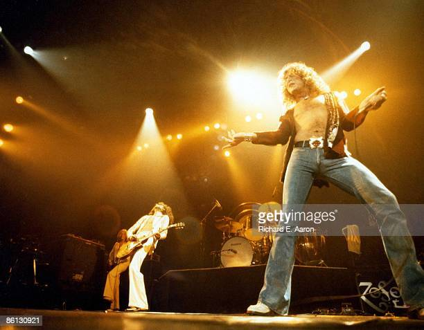 GARDEN Photo of LED ZEPPELIN and John Paul JONES and Jimmy PAGE and Robert PLANT LR John Paul Jones Jimmy Page and Robert Plant performing on stage