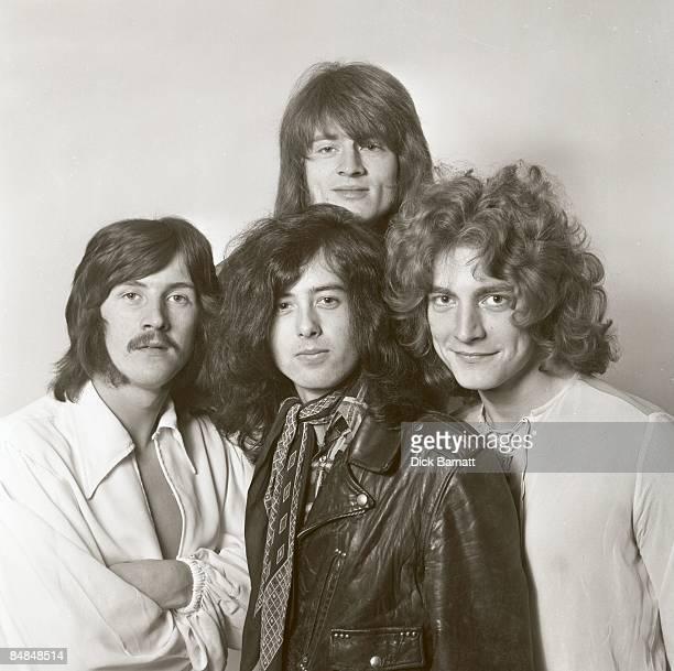 Photo of LED ZEPPELIN LR John Bonham Jimmy Page John Paul Jones Robert Plant studio posed group shot half length in London in December 1968