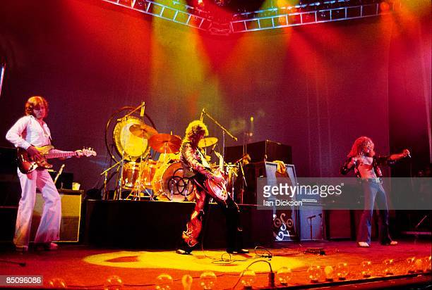 John Paul Jones Jimmy Page Robert Plant performing live onstage Full stage shot