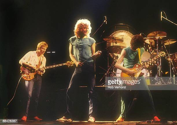 Photo of LED ZEPPELIN, L-R: John Paul Jones, Robert Plant, Jimmy Page performing live onstage