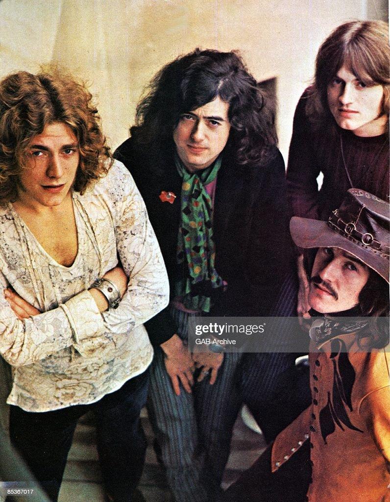 Robert Plant, Jimmy Page, John Paul Jones (behind), John Bonham (front) - posed, group shot