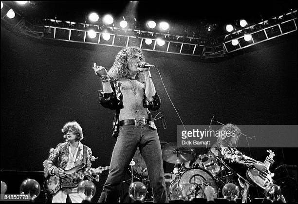 COURT Photo of LED ZEPPELIN performing live on stage at Earls Court in London on 24th May 1975 Left to right John Paul Jones Robert Plant John Bonham...