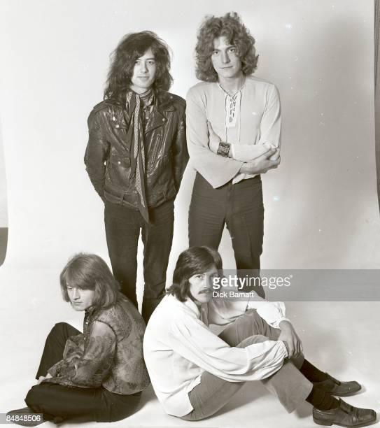 Photo of LED ZEPPELIN posed in London in December 1968 Left to right John Paul Jones Jimmy Page John Bonham Robert Plant