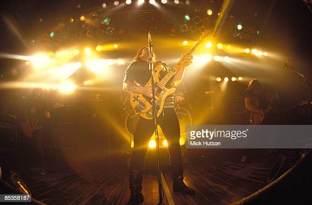 Photo of LEMMY and Philip CAMPBELL and MOTORHEAD LR Phil Campbell Lemmy Wurzel performing live on stage